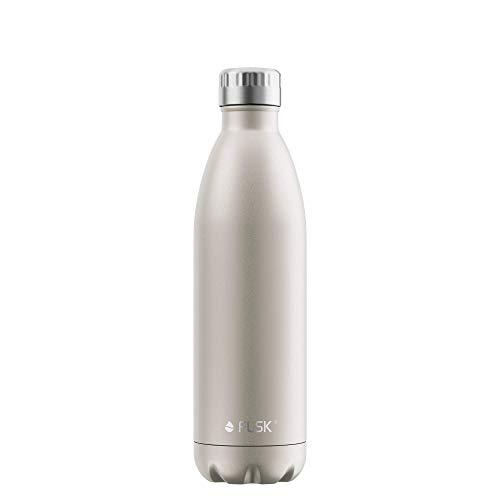 FLSK Das Original New Edition Edelstahl Trinkflasche • 750ml • Kohlensäure geeignet • Die Isolierflasche hält 18 Stunden heiß und 24 Stunden kalt • ohne BPA und rostfrei • Champagne