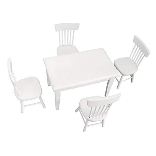 planuuik 5stuks/Set 1:12 Eettafel Stoel Poppenhuis Miniatuur Decoratieve Houten nituur