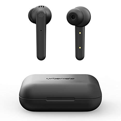 Urbanista Paris True Wireless Kopfhörer. 20H Spielzeit Kabellose Ladetasche, Bluetooth 5.0, Geräuschdämpfende Kopfhörer mit Touch-Steuerung + eingebautem Mikrofon, kompatibel Android & iOS - Schwarz
