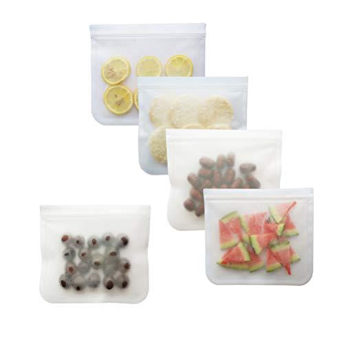 Reusable Storage Bags Leak Proof Airtight Seal Bags Ziplock, BPA Free, for Food Home Organization 5PCS