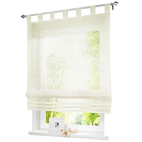 ESLIR Raffrollo mit Schlaufen Raffgardinen Gardinen Küche Transparent Schlaufenrollo Vorhänge Modern Voile Beige BxH 120x155cm 1 Stück