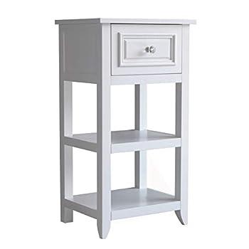Elegant Home Fashions Dawson Freestanding Single Floor Cabinet Bathroom Kitchen Bedroom Living Room Storage Organizer with 1 Drawer and Open Shelves White