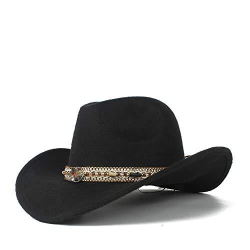 XY-hat Calentar Hombres Mujeres Vintage Western Cowboy Sombrero Sombrero Sombrero de ala Ancha Sombrero Moda (Color : Black, Size : 56-58)