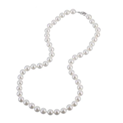 KEZEF Creations 8mm Faux White Pearl Necklace 18 Inch