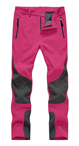 Rdruko Women's Outdoor Snow Ski Insulated Pants Windproof Waterproof Breathable Pants for Snowboarding(Rose Red, US M)