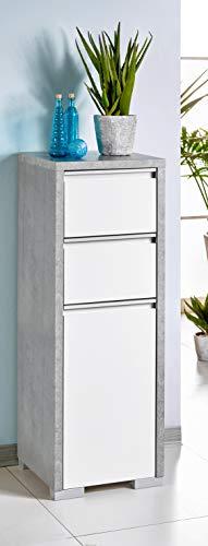 Schildmeyer Bello Midischrank 140909, steingrau/weiß glanz, 34,5 / 33 / 97 cm,