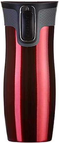 Contigo West Loop Autoseal Gobelet isotherme de voyage en acier inoxydable 100 % étanche Rouge 470 ml