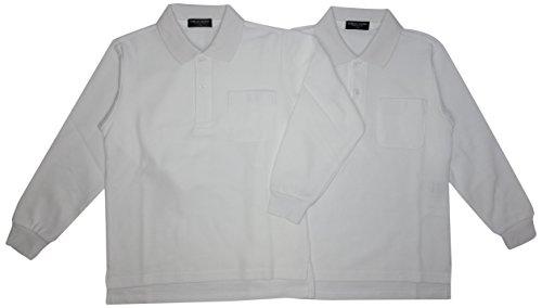 2枚組 吸汗速乾 カノコ 長袖スクールポロシャツ 白 男女兼用 東洋紡生地「アルティマ」使用 150㎝