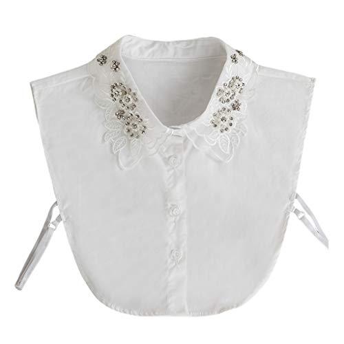 GHBOTTOM Cadena para el cuello, las mujeres estilo Colleage desmontable collar falso Rhinestone perlas de imitación bordado floral hojas de encaje solapa suéter de media camisa collar