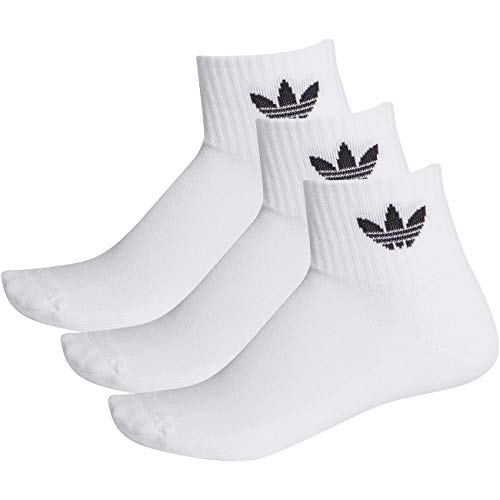 adidas Mid-Cut (3 PAIA) Bas Sport Mixte, Blanc/Blanc/Noir, XS