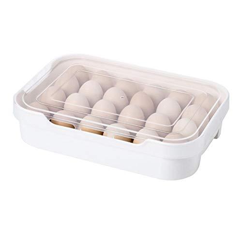 Hearthrousy Eiereinsatz für Kühlschrank Kühlschrank Eierbox aus Kunststoff 24 Eier Aufbewahrung Spender Halterung mit Deckel großer Kühlschrank Eierhalter Schützen und halten Sie das Ei frisch