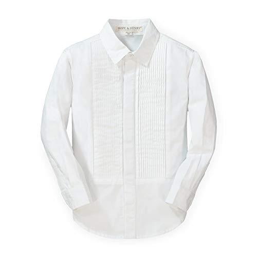 Hope & Henry Boys' Long Sleeve Tuxedo Button Down Shirt White