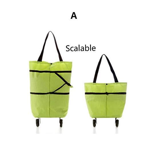 Lichtgewicht Opvouwbare Winkelwagen Bagage Reistas Trolley Draagbare Tug Hangende Tas Mode Oxford Solid Vrouwen Tassen Beige