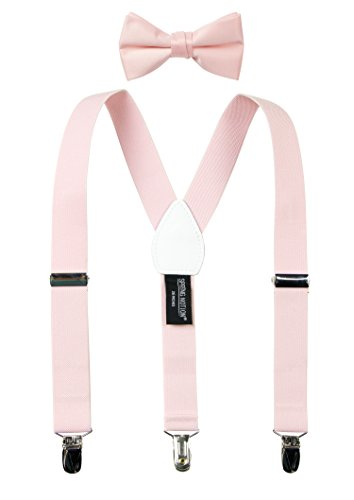 Spring Notion Boys' Suspenders and Solid Color Bowtie Set Blush Pink Large