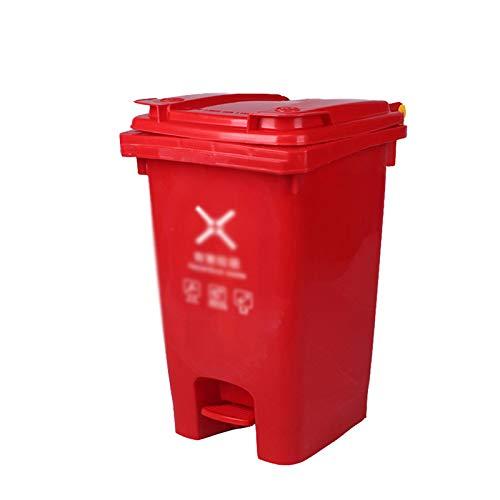 Chang-S-Q-123 Bote De Basura Al Aire Libre Rojo, Tipo Pedal Plastic Passh Can Home Hotel Cocina Caja De Basura Clasificación Clasificación Reciclaje De Basura Papelera(Size:60L,Color:Rojo)