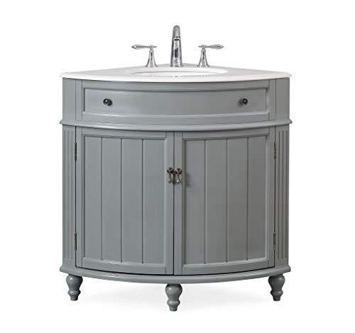 "24"" Thomasville Gray Modern Slim Corner Bathroom Sink Vanity ZK-47566CK"