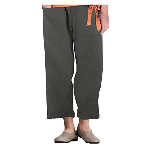 Bermudas Mujer,Pantalones Girlfriend,Pantalones Cuadros Pantalones Tejanos,Pantalones Casuales De Lino Y AlgodóN Rectos Con Bolsillo úNico En Color Liso Para Mujer,Pantalones Blancos,Pantalone