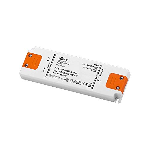 goobay LED-Transformator; SELV Class II; Konsta, CC-Betrieb 350 mA 11 - 20 Watt, weiß/orange, 30603
