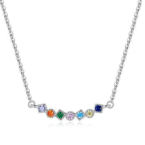 HMMJ Collar de circonita arcoíris electrochapada con diseño de nicho hipoalergénico S925 para Mujer SCN451