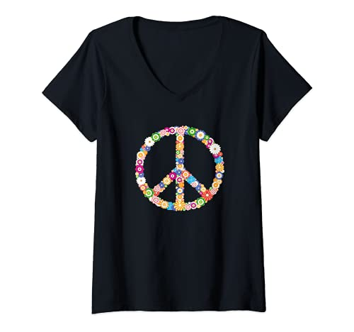 Mujer Peace Sign Simbolo Hippie de la Paz con Flores Hombre Mujer Camiseta Cuello V