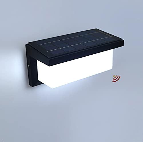 WRMING Solar Lámpara de Pared Exterior con Sensor de Movimiento,12W LED Apliques de Exterior,Moderna Diseño,IP65 Impermeable,Aluminio Luz Solar para Jardin,Pasillo,960lm,con Control Remoto,6000k