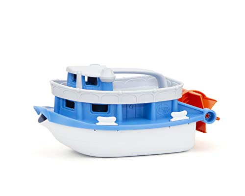 Green Toys Paddle Boat, Blue/Grey - Pretend Play, Motor Skills, Kids Bath Toy Floating Pouring Vehicle. No BPA, phthalates, PVC. Dishwasher Safe, Recycled Plastic, Made in USA.