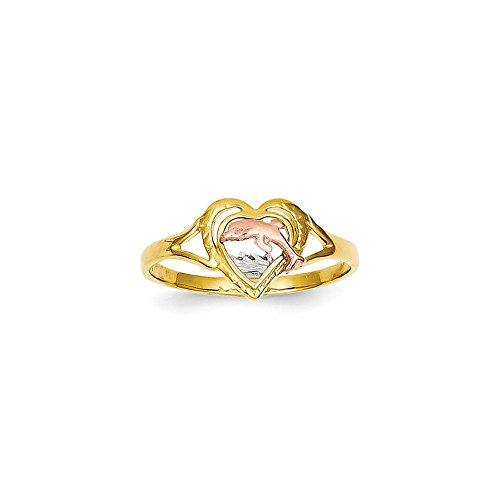 Anillo de oro rosa amarillo de 14 quilates con textura de rodio pulido con delfín en el amor, tamaño L 1/2 joyería regalos para mujeres