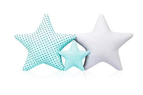 3 Pack Kissen Set Stern Sternchen Zierkissen ca. 60 cm / 28cm Kinderzimmer Zimmer Deko Sternkissen Baby Dekokissen mit Füllung für Schlafzimmer Babyzimmer Kinderbett Mädchen Jungen SET5