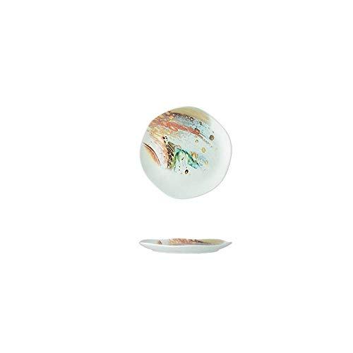 LHQ-HQ Porcelana Creativa Océano Viento vajilla de cerámica Plato de arroz Soup Bowl Cuenco Cuenco Cuchara Cuchara Plato Plato 14.5X1.5Cm