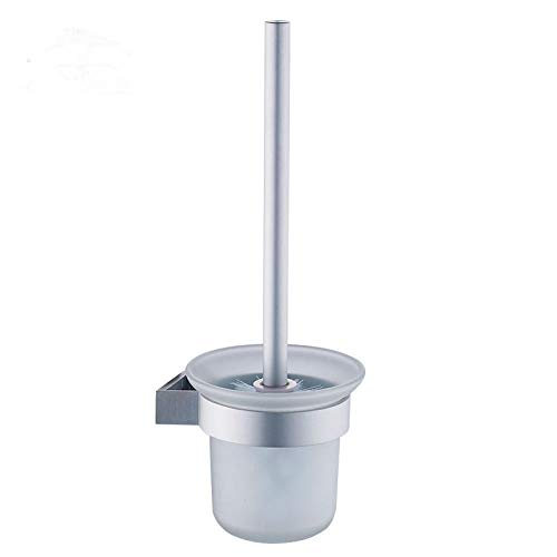 Portascopino Spazio in Alluminio con Una Testina per WC Senza Angolo Morto, Bagno con Base punzone Libero-Bianco