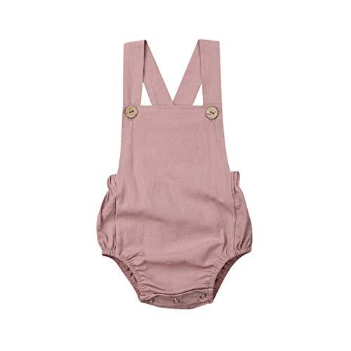 Xmiral Kids Baby Mädchen Strampler Ärmellos Rückenfrei Jumpsuit Tasten Strumpf Overalls Kleinkind Einfarbig Onesies Schlafanzug(Violett,2-3 Jahre)