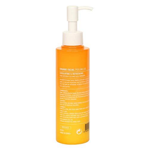 BeauKON Orange Facial Peeling Gel, Gentle Face Exfoliator Scrub, Orange Fruit Extract, Gommage Peeling Gel, Exfoliating and Refreshing (6 Oz)