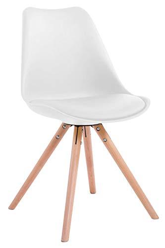 CLP Retro-Stuhl Toulouse Rund Mit Kunstlederbezug | Kunstoff-Lehnstuhl Mit Holzgestell, Farbe:weiß, Gestell Farbe:Natura (Eiche)