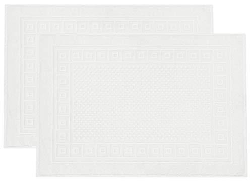 ZOLLNER Set de 2 alfombras de baño, Blanco, algodón 100%, 50x70 cm