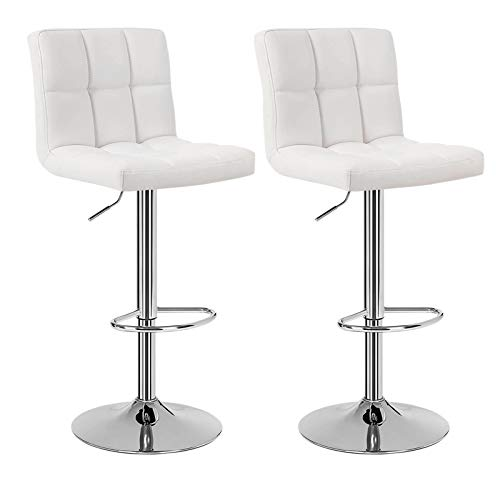 Huracan Bar Stools Set of 2 Bar Chairs White Counter Height Stools Adjustable Bar Stool with Back High Bar Chair Modern Island Chairs for Kitchen Counter 360 Degree Swivel Seat Top Classical 2pcs