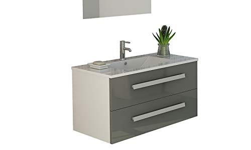Badset Rapperswil in grau mit hochglanz Front soft close waschbecken Set Waschtisch Neu