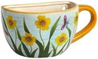 Northeast Home Goods Garden Flowers Ceramic Teapot Wall Planter, 11-Inch (Yellow Flowers & Butterlies)