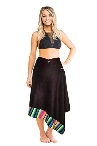 Simple Sarongs Women's Microfiber Towel and Swimsuit Cover-up Wrap All-in-One Black Cabana Stripe