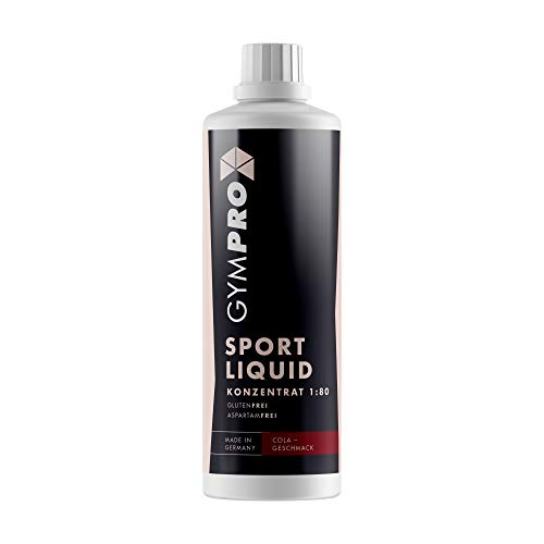 GymPro - Sport Liquid, Fitnessgetränk Konzentrat (1000ml) Lower Carb Drink, Sirup Getränke Konzentrat in Flasche mit L-Carnitin, Magnesium und Vitaminen für Fitness und Sportdrinks (Geschmack Cola)