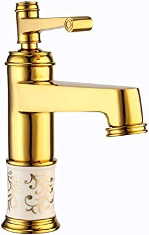 Ddl Faucet, Gold Copper Basin Faucet European Hot and Cold Single Gold-Plated Ceramic Faucet Household, 2 Größes,L