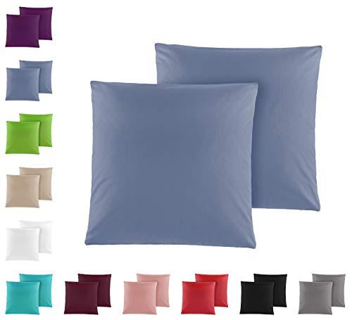 Doppelpack Baumwolle Renforcé Kissenbezug, Kissenbezüge, Kissenhüllen 80x80 cm in vielen modernen Farben Jeansblau