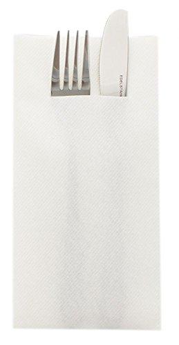 Sovie HORECA Airlaid Besteckservietten 40x40cm, Hochwertige Einweg-Serviette ideal für Hochzeiten, 100 STK, Weiß