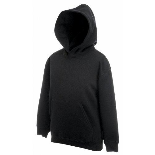 Unisex-Kapuzen-Sweatshirt/Hoodie für Kinder von Fruit of the Loom M schwarz