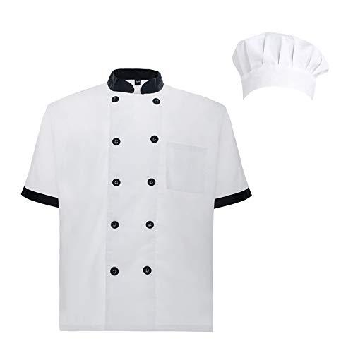 TOPTIE Unisex Short Sleeve Cooking Chef Coat Jacket with Adjustable Hat-Black White-M