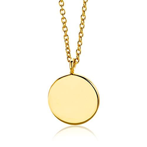 Orovi Damen Kette Gelbgold, Halskette mit rundem Anhänger 9 Karat (375) Gold, 43 cm lang Halskette in Italien hergestellt