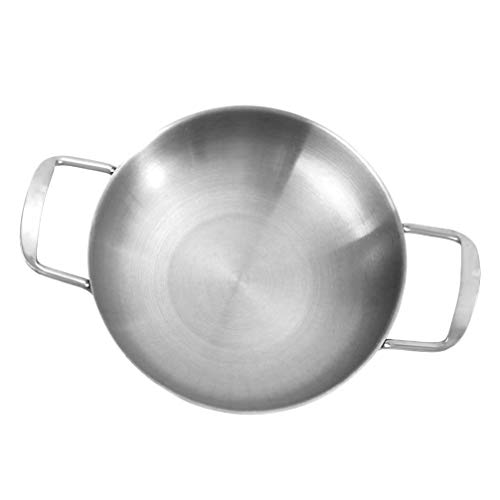 UPKOCH Edelstahl Kochtopf Mini Alltagsköche Rühren Bratpfanne Meeresfrüchte Pfanne Hot Pot Kochgeschirr für zu Hause Outdoor-Camping (Silber 18Cm)