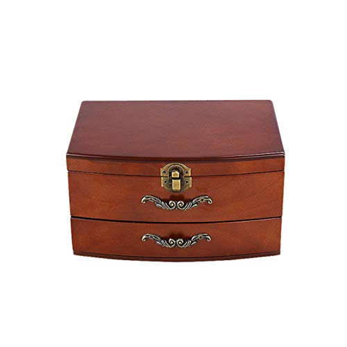 Jewelry Box XIAOXIAO - Pulsera de madera maciza retro para collar y pulseras, caja de almacenamiento de dos niveles