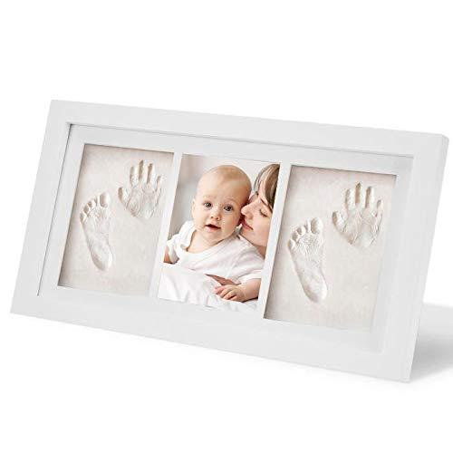 WesKimed Handabdruck und Fußabdruck Baby Fotorahmen Set für Neugeborene Mädchen Jungen, personalisiertes Baby-Geschenk, Fotoalbum Baby, Andenkenbox, Wanddekoration für Zimmer und Kinderzimmer