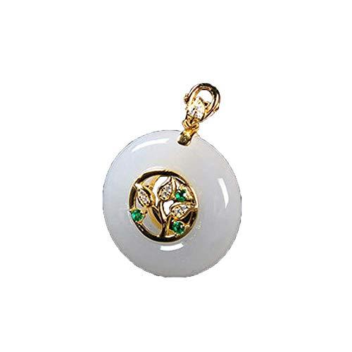 ZHIBO Colgante de jade blanco natural chapado en oro con incrustaciones de jade y hebilla de paz