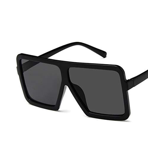 WEQQ Gafas de Sol cuadradas Grandes para Hombres y Mujeres Gafas UV400 Gafas de Sol de Todo fósforo de Hip Hop (Negro Brillante y Gris Cuadrado)